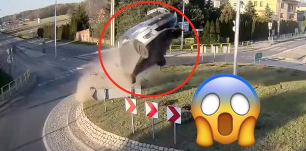 Suzuki Swift flies over roundabout
